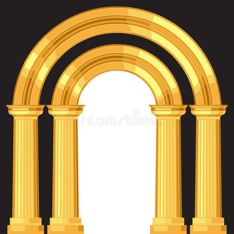 Doric realistic antique greek arch with columns vector illustration