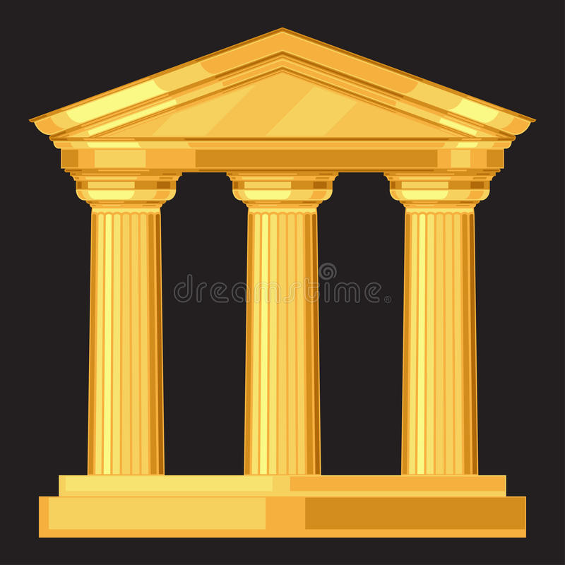 Doric realistic antique greek temple with columns royalty free illustration