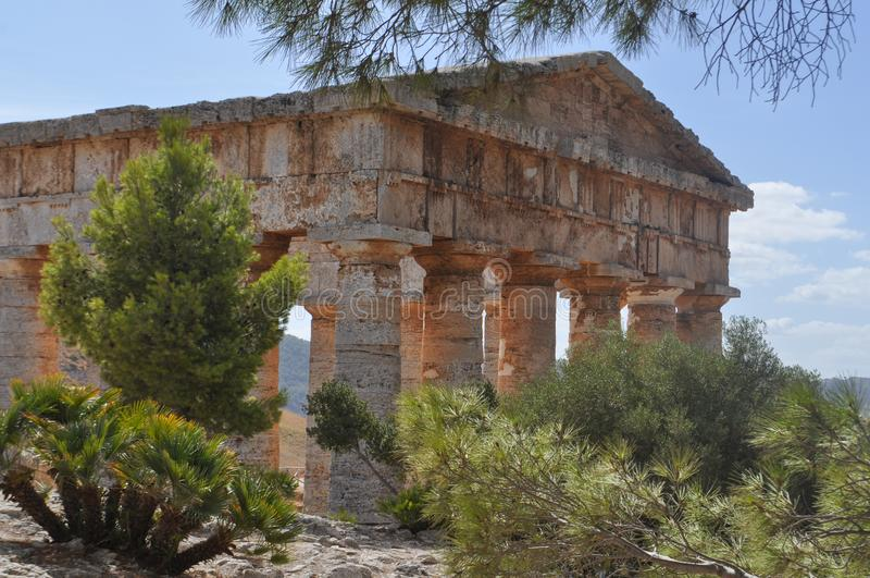 Doric Tempel in Segesta stockfotos