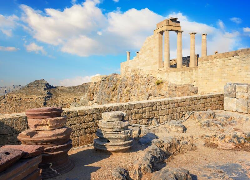 Doric temple of Athena Lindia on Acropolis of Lindos Rhodes, Greece stock photography