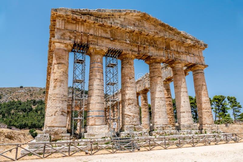 Doric Temple Ruins in Segesta, Sicily Italy stock image