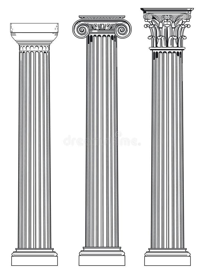 Dorique, ionien et corinthien   illustration de vecteur
