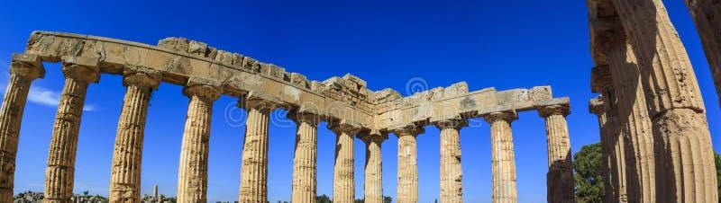 Dorische Kolonnade des griechischen Tempels E bei Selinus in Selinunte - Sizilien, Italien stockbilder