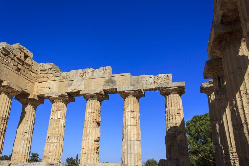 Dorische Kolonnade des griechischen Tempels E bei Selinus in Selinunte - Sizilien, Italien stockfotografie
