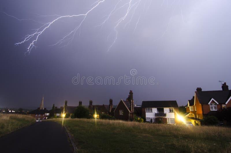 Dorking, UK- 19 July, 2017 Lightning storm over Dorking town. stock images