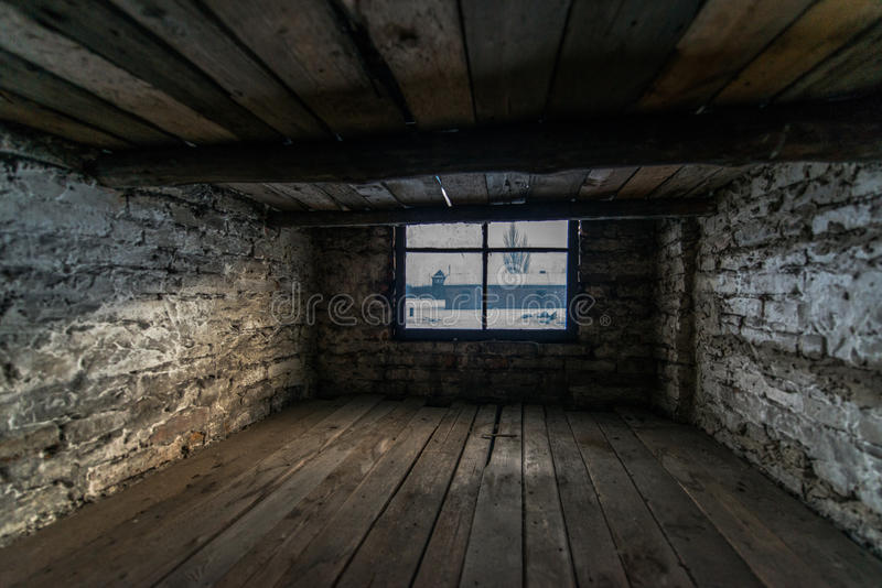dorm av baracker av nazistkoncentrationsläger Aus arkivfoton