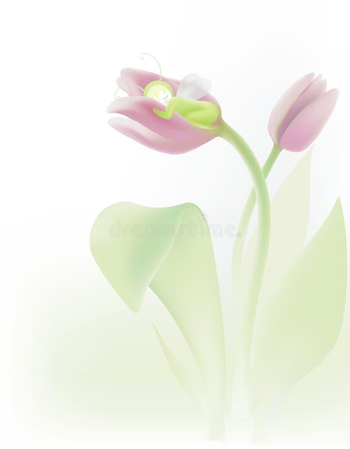 Dormendo nel tulipano royalty illustrazione gratis