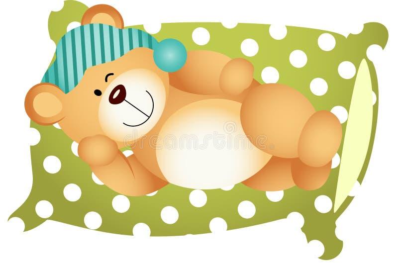 Dormendo sul cuscino Teddy Bear sveglio illustrazione vettoriale