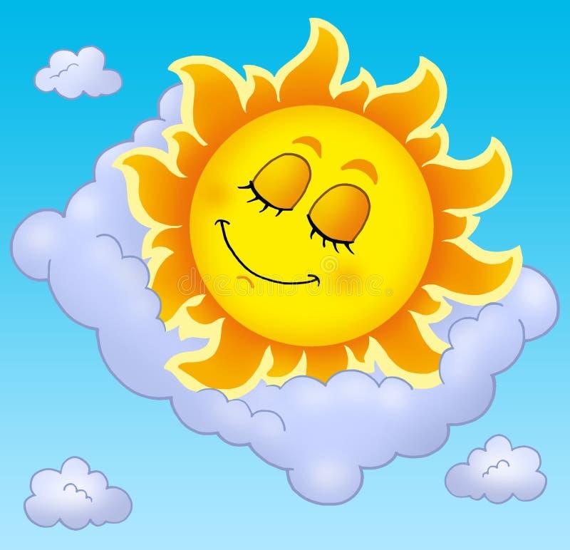 Dormendo Sun con il cuscino sul cielo royalty illustrazione gratis