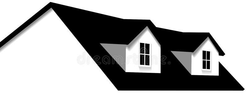 Dormer Home Windows da casa 2 do telhado ilustração do vetor