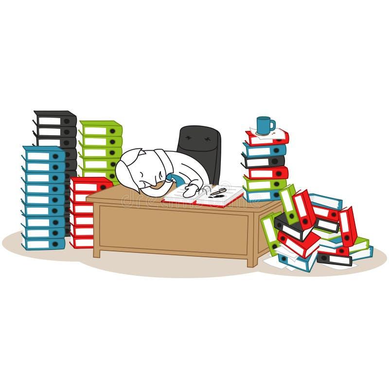 Dormido caido hombre de negocios, pilas de carpetas ilustración del vector
