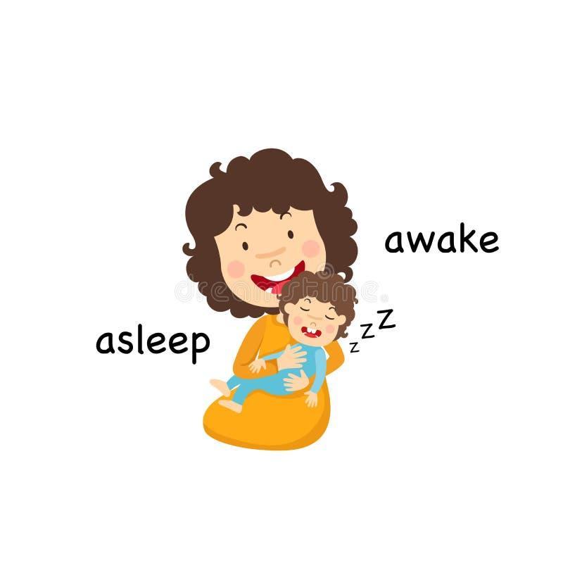 Dormido y despierto opuestos libre illustration