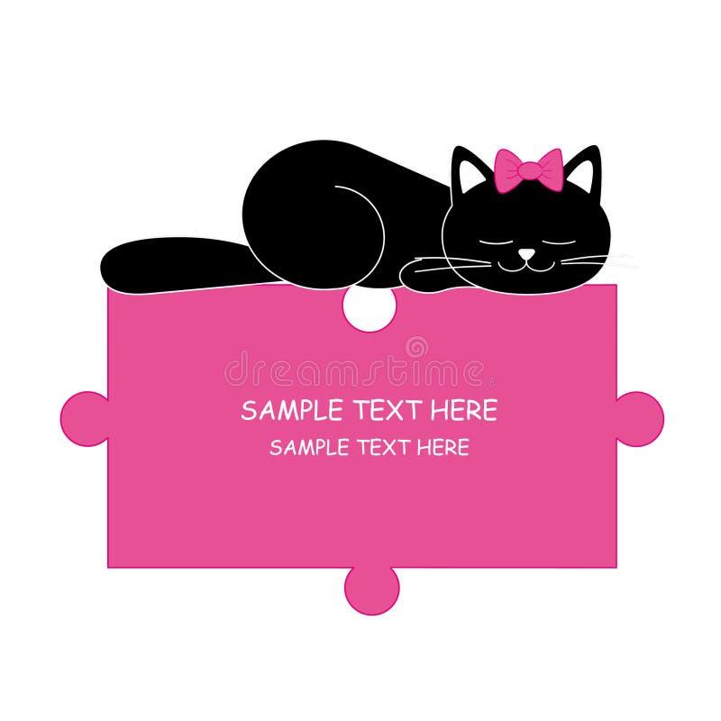Dormir-rompecabezas del gato stock de ilustración