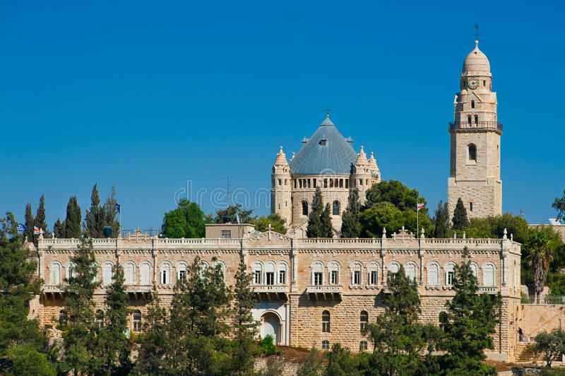 Dormition教会看法在锡安山,耶路撒冷,以色列的 免版税图库摄影