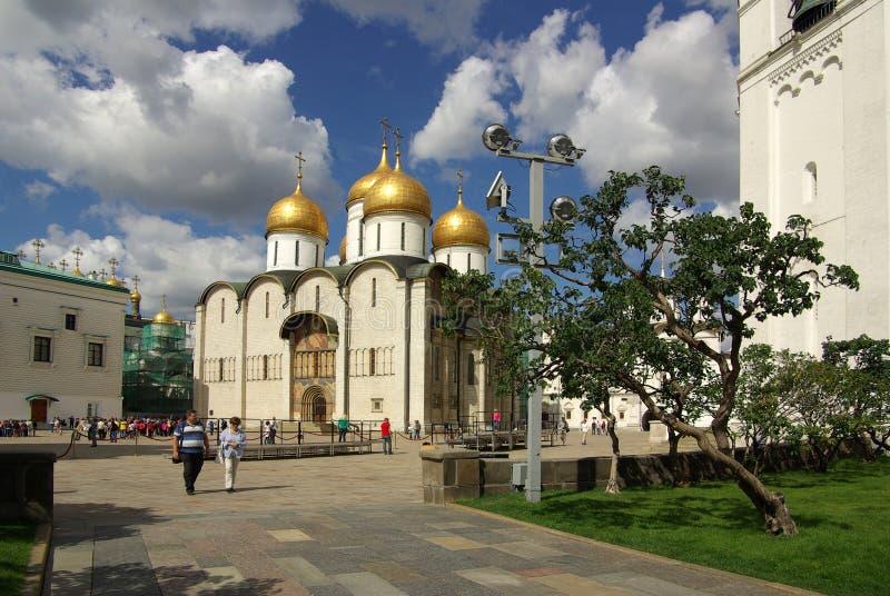 Dormition的大教堂在克里姆林宫 图库摄影