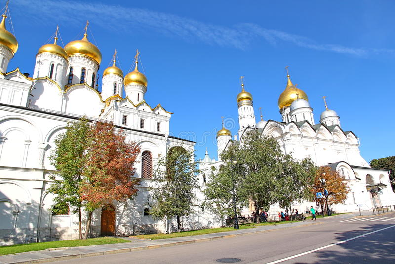 Dormition的大教堂在克里姆林宫 库存图片