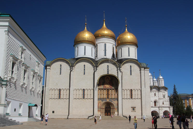 Dormition,克里姆林宫,莫斯科的大教堂 免版税库存图片