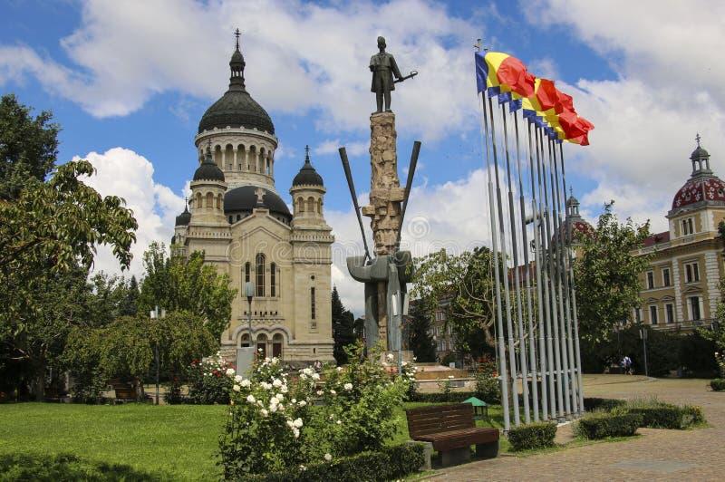 Dormition собора Theotokos на квадрате Avram Iancu, Cluj стоковое изображение rf