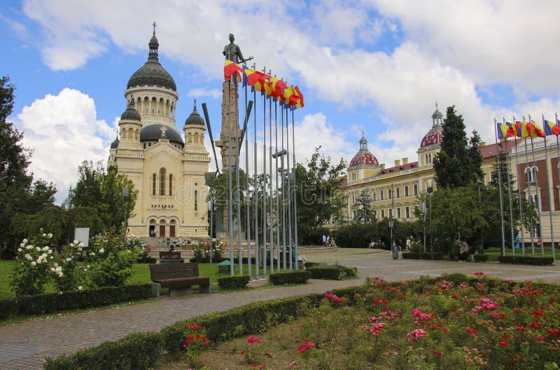 Dormition собора Theotokos на квадрате Avram Iancu, Cluj стоковое изображение