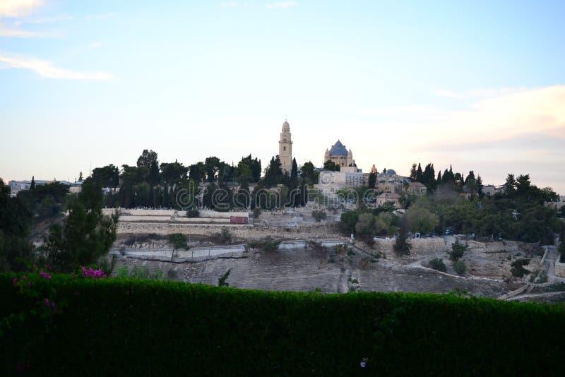 Dormition abbotskloster på Mount Zion från Mount of Olives, Jerusalem ISRAEL arkivfoto