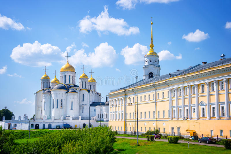 Dormition cathedral and Bell tower, Vladimir, Golden Ring, Russia. Dormition cathedral and Bell tower, in Vladimir, Golden Ring, Russia royalty free stock photos