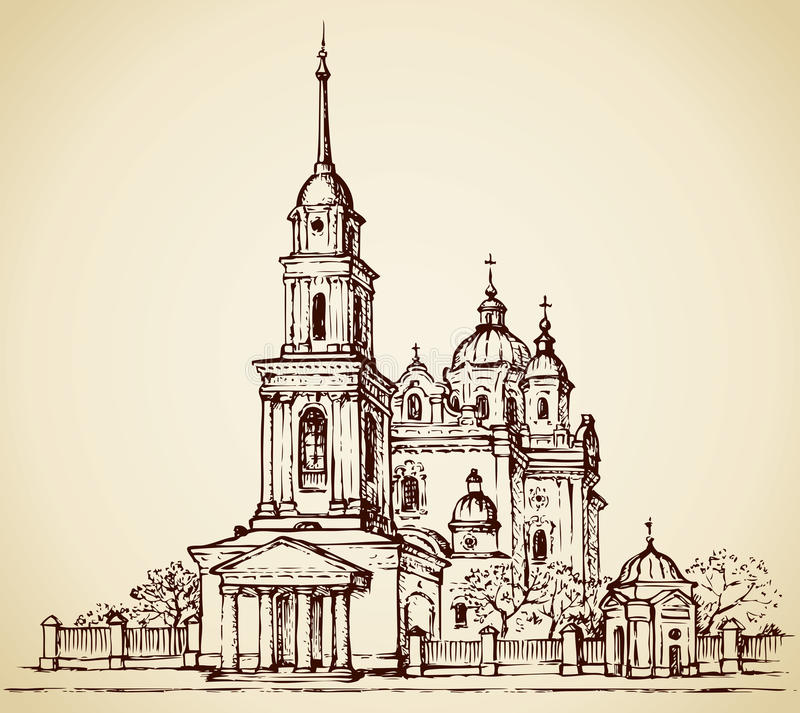 Dormition katedra, Poltava, Ukraina Wektorowy nakreślenie ilustracja wektor