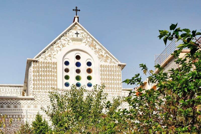 Dormition van Maagdelijke Mary Church in Pyrgi van Chios, Griekenland royalty-vrije stock afbeeldingen