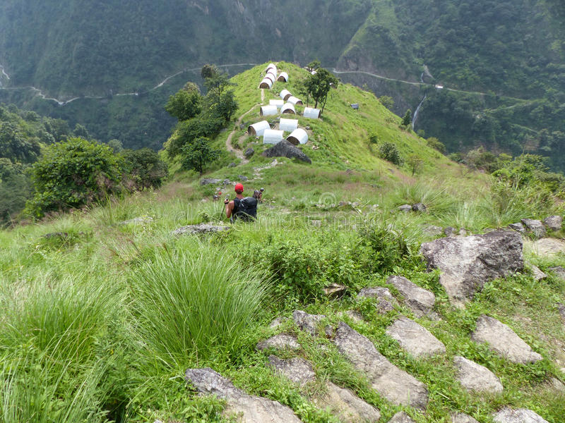 Dormitories in Upper Chipla village. Little village in Annapurna Circuit trek royalty free stock image