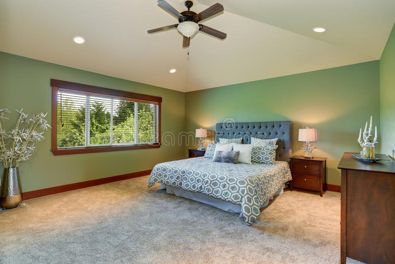 Dormitorio acogedor con la cama azul, el cabecero de los botones y las paredes verdes fotos de archivo