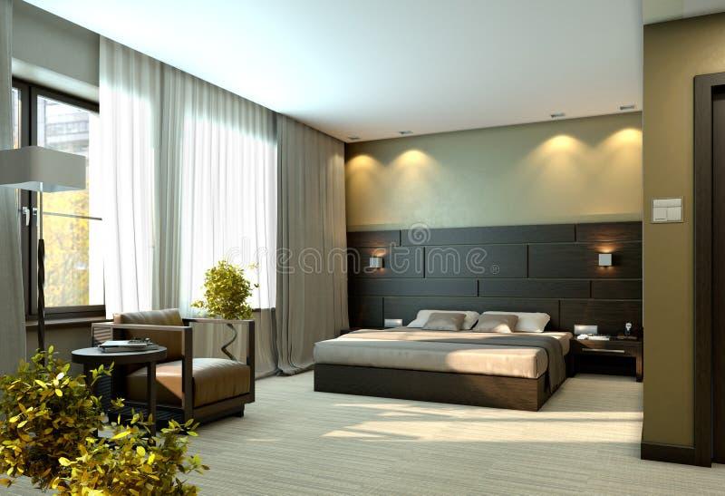 Dormitorio amarillento de lujo moderno imagen de archivo