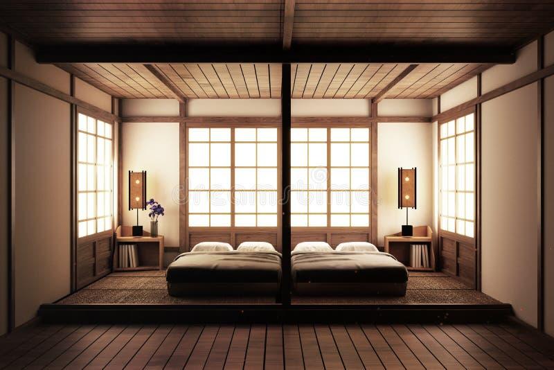 Dormitorio ascendente falso dormitorio del estilo del zen Dormitorio sereno Cama de madera con estilo japonés del piso de tatami  ilustración del vector