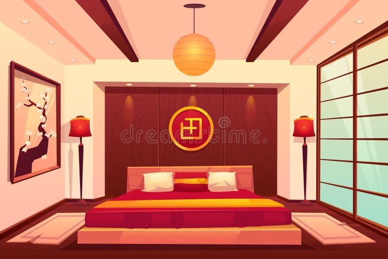 Dormitorio asiático, chino, japoneses, sitio del este libre illustration
