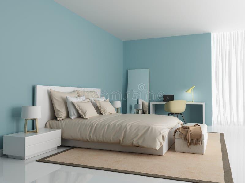 Dormitorio azul claro moderno contemporáneo ilustración del vector