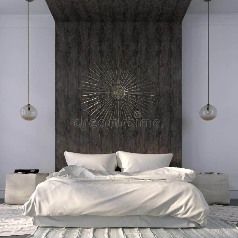 Dormitorio beige elegante con la decoración de madera stock de ilustración