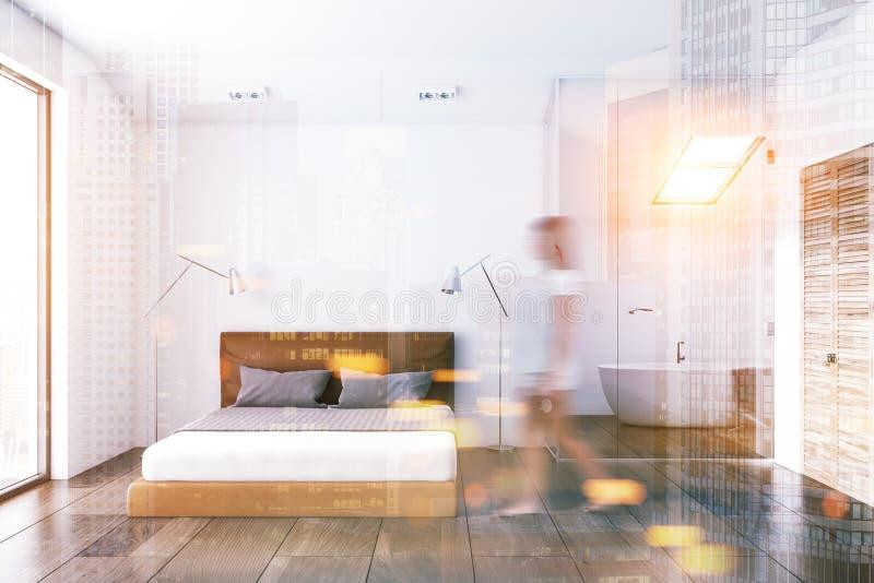 Dormitorio blanco de la ventana del desván, falta de definición del cuarto de baño stock de ilustración