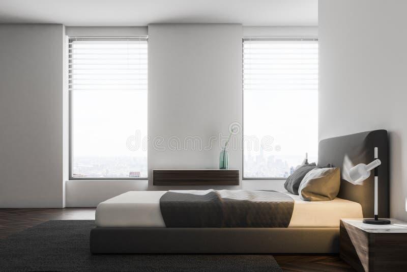 Dormitorio blanco de lujo interior, vista lateral libre illustration