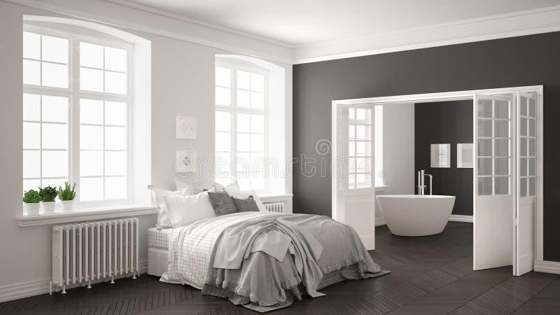Dormitorio blanco escandinavo minimalista con el cuarto de baño en el backg ilustración del vector