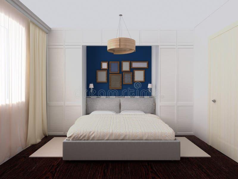 Dormitorio blanco y azul ilustración del vector