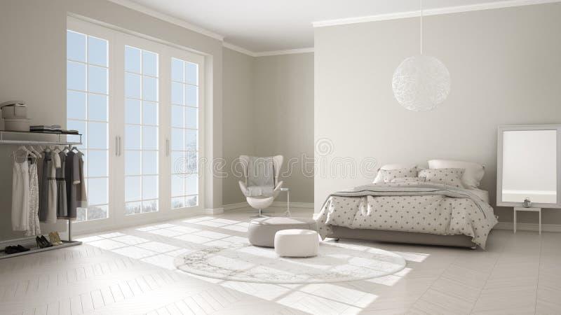 Dormitorio blanco y beige moderno cómodo con el piso de entarimado de madera, la ventana panorámica en paisaje del invierno, alfo libre illustration