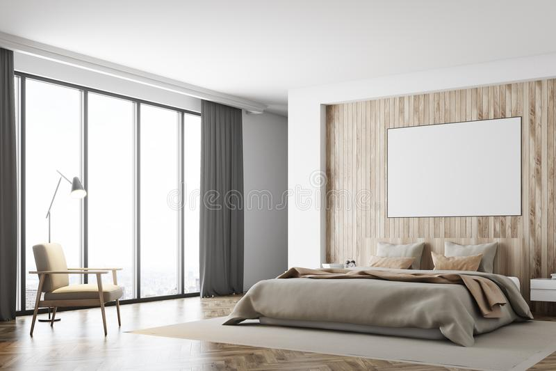 Dormitorio blanco y de madera, cartel, lado stock de ilustración