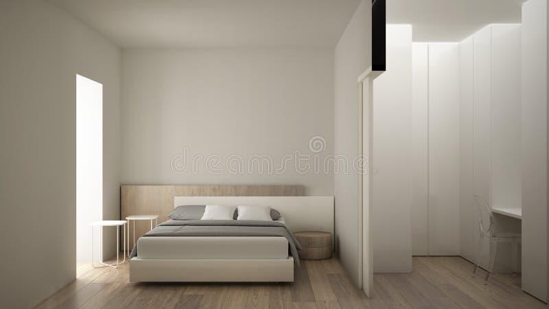 Dormitorio blanco y de madera moderno minimalista con el vestidor, el piso de entarimado, la cama matrimonial, las mesitas de noc ilustración del vector