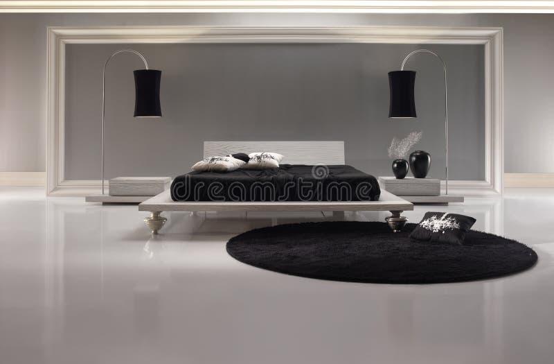 Dormitorio blanco y negro lujoso foto de archivo libre de regalías