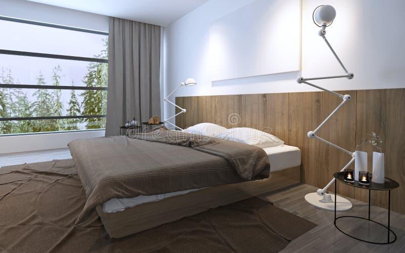Dormitorio brillante con la ventana panorámica ilustración del vector
