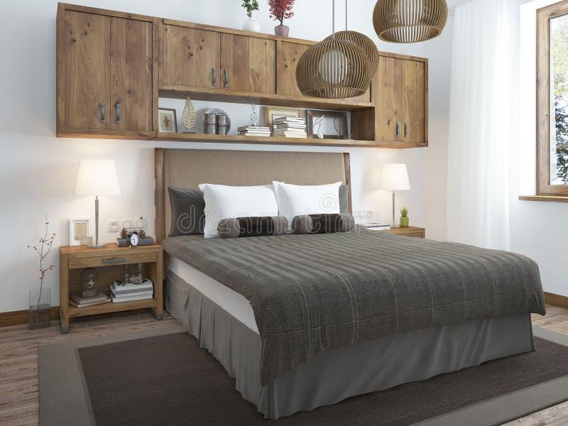 Dormitorio brillante grande en el desván ilustración del vector
