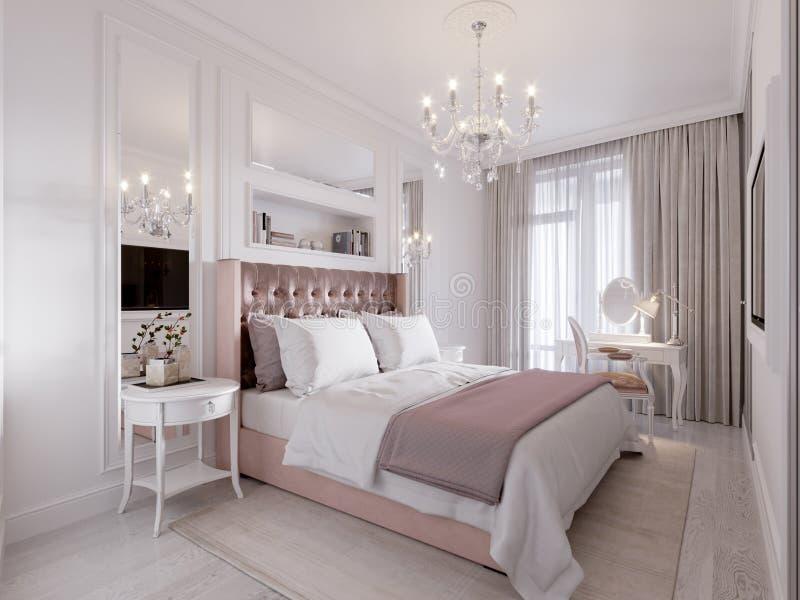 Dormitorio clásico contemporáneo moderno espacioso y brillante stock de ilustración
