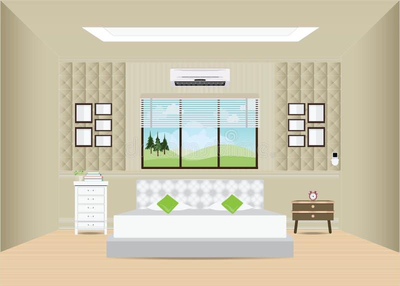 Dormitorio con la cama matrimonial y muebles stock de ilustración
