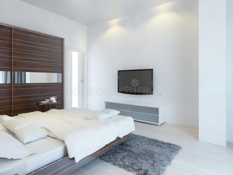 Dormitorio con la TV y una medios consola ilustración del vector