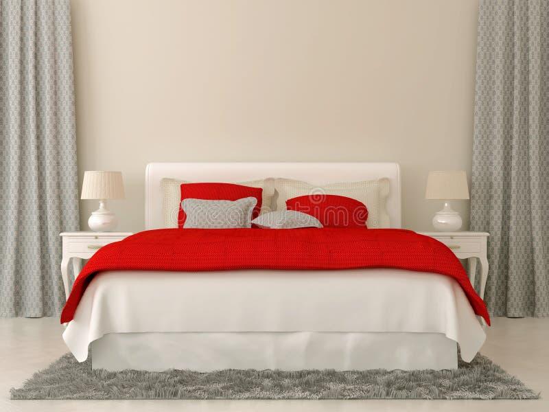 Dormitorio con las decoraciones rojas y grises foto de archivo