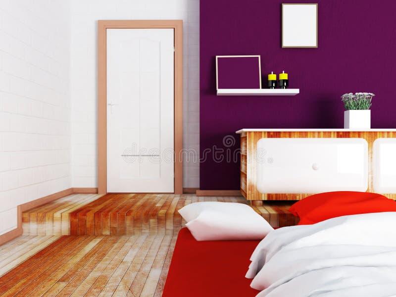 Dormitorio con un podio stock de ilustración