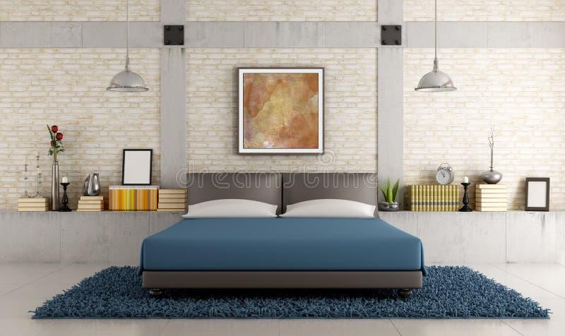 Dormitorio contemporáneo en un desván stock de ilustración